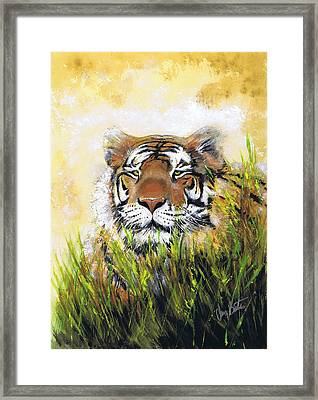 Tiger In Grass Framed Print