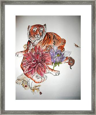 Framed Print featuring the painting Tigers The Color Of Orange by Debbi Saccomanno Chan