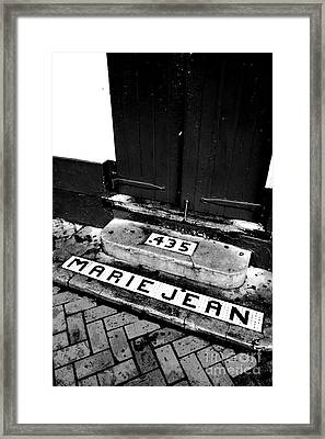 Tile Inlay Steps Marie Jean 435 French Quarter New Orleans Black And White Conte Crayon Digital Art  Framed Print