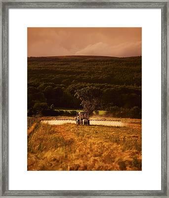 Tillage, Crop Spraying, Ireland Framed Print