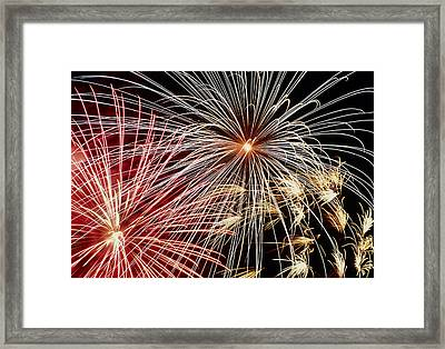 Time-exposure Image Of A Firework Display Framed Print