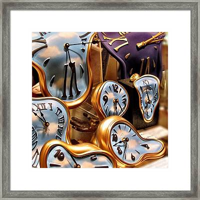 Time Is Melting Away #clocks #clocks Framed Print by A Rey