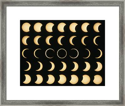 Time-lapse Image Of A Solar Eclipse Framed Print