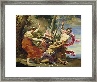 Time Overcome By Youth And Beauty Framed Print by Simon Vouet