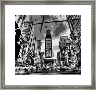 Time Square Bw6 Framed Print by Scott Kelley