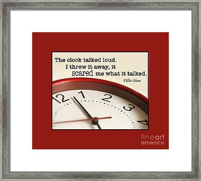 Time Talks Framed Print by Nancy Greenland
