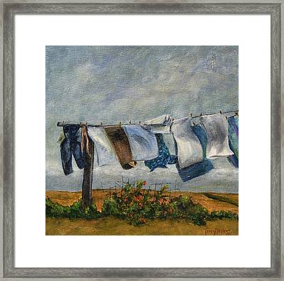 Time To Take In The Laundry Framed Print