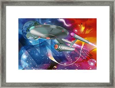 Time Travelling Spacecraft, Artwork Framed Print by Detlev Van Ravenswaay