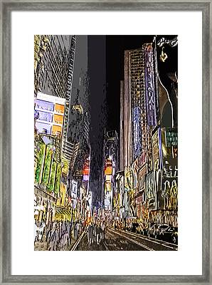 Times Square Abstract Framed Print by Robert Ponzoni