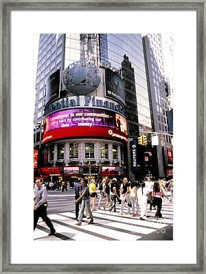 Times Square Corner Framed Print by Linda  Parker