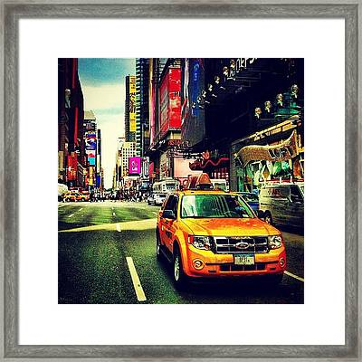 Times Square Taxi Framed Print