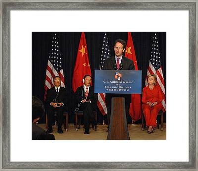 Timothy Geithner Speaking Framed Print