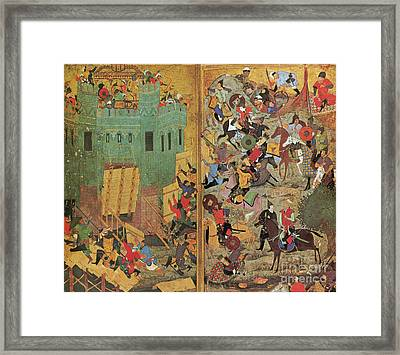 Timur And The Siege Of Smyrna 1402 Framed Print by Photo Researchers