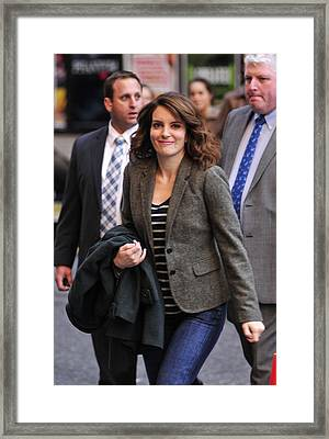 Tina Fey At Talk Show Appearance Framed Print by Everett