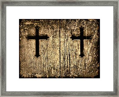 Tinted Sepia Cross Duet Framed Print by Tony Grider
