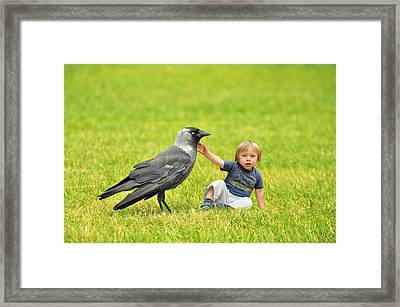 Tiny Boy Playing With A Crow Framed Print by Jaroslaw Grudzinski