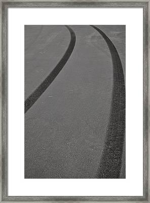 Tire Skid Marks Framed Print