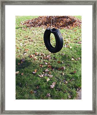 Tire Swing Framed Print by Todd Sherlock