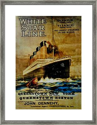 Titanic - White Star Line Framed Print by Bill Cannon
