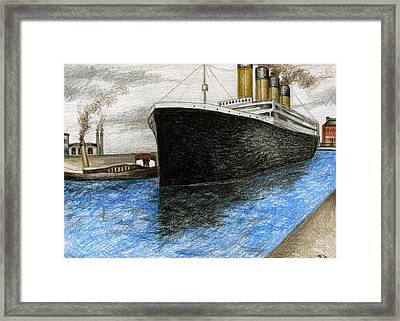 Titanic At Southampton Framed Print by James Falciano