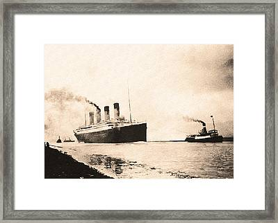 Titanic - Heading Out To Sea Framed Print by Bill Cannon