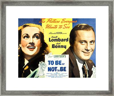 To Be Or Not To Be, Carole Lombard Framed Print by Everett