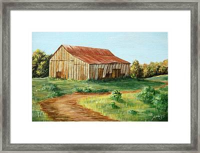 Tobacco Barn Framed Print by AnnaJo Vahle