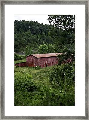Tobacco Barn From Afar Framed Print by Douglas Barnett
