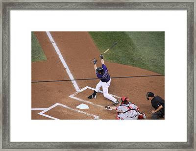 Todd Helton Takes A Swing Framed Print by Cynthia  Cox Cottam