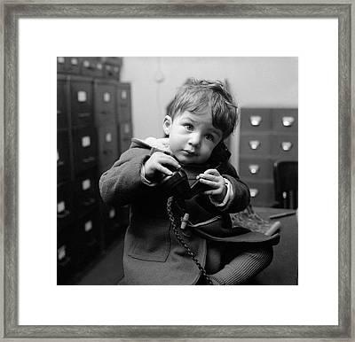 Toddler Line Framed Print by John Pratt