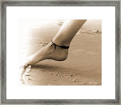 Toes In The Sand Framed Print by Nada Frazier