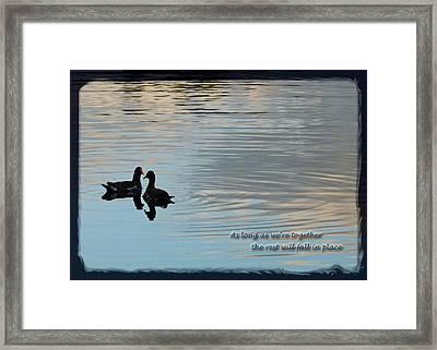 Framed Print featuring the photograph Together by Steven Sparks