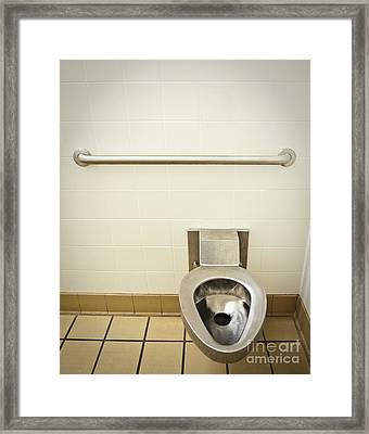 Toilet In A Public Restroom Framed Print by Thom Gourley/Flatbread Images, LLC