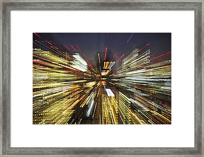 Tokyo Lights At Night A Zoom Effect Framed Print