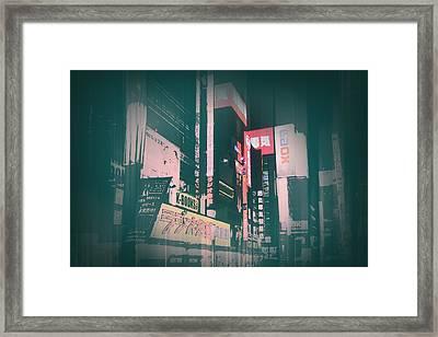 Tokyo Lights Framed Print by Naxart Studio