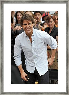 Tom Cruise At Talk Show Appearance Framed Print by Everett