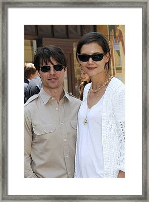 Tom Cruise Wearing Ray-ban Sunglasses Framed Print by Everett