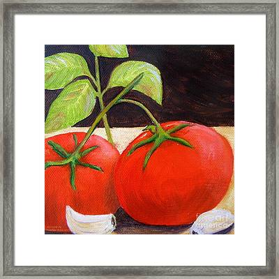 Tomato Basil And Garlic Framed Print by Pauline Ross