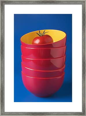 Tomato In Stacked Bowls Framed Print