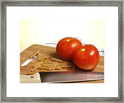 Tomatoes Pasta And Knife Framed Print