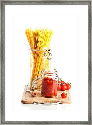 Tomatoes Sauce And  Spaghetti Pasta  Framed Print by Amanda Elwell