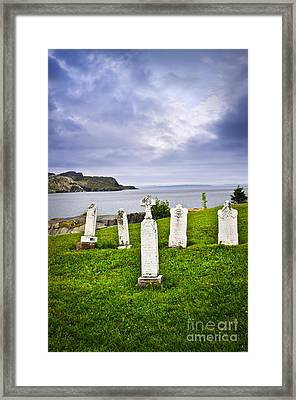 Tombstones Near Atlantic Coast In Newfoundland Framed Print