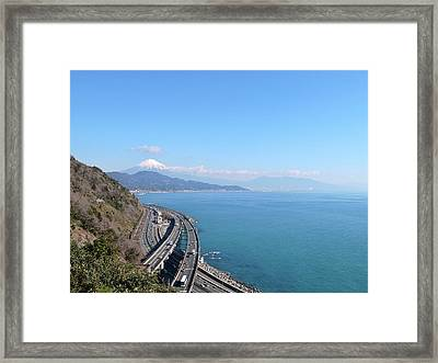Tomei Expressway With Mt. Fuji Framed Print by Bun Buku