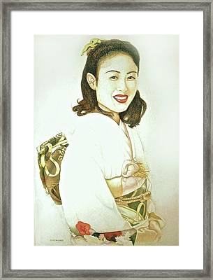 Framed Print featuring the drawing tomomi in Kimono by Tim Ernst