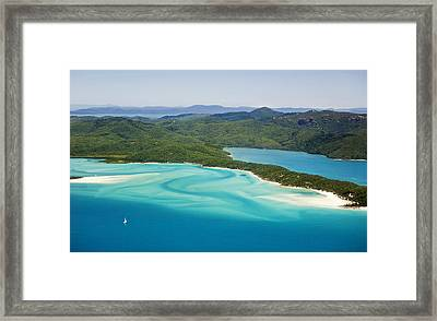 Tongue Point And Whitehaven Beach In Whitsunday Islands National Park, Queensland, Australia Framed Print by Peter Walton Photography