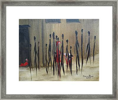 Framed Print featuring the painting Too Busy To Notice by Judith Rhue