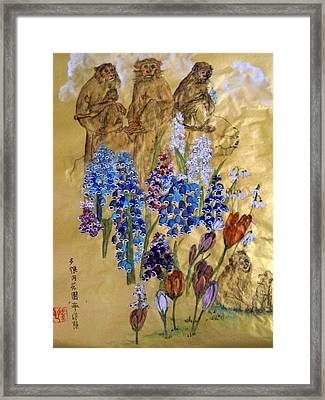 Framed Print featuring the painting Too Many Monkeys In The Garden by Debbi Saccomanno Chan