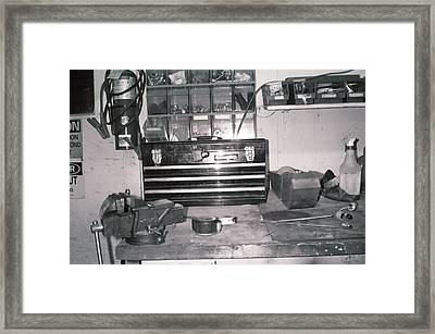 Tool Box And Clamp Work Area Framed Print by Floyd Smith