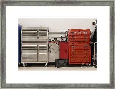Tool Chests In An Automobile Repair Shop Framed Print