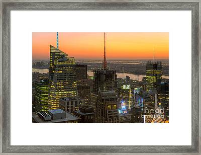 Top Of The Rock Twilight Ix Framed Print by Clarence Holmes